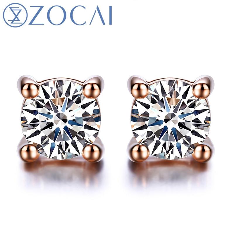 все цены на ZOCAI earrings Genuine Diamond 0.18 CT Certified Diamond Stud Earrings Real 18K White / Rose / Yellow Gold Earrings E00008 онлайн