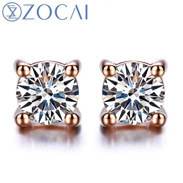 Zocai Earrings Genuine Diamond 0 18 Ct Certified Stud Real 18k White Rose