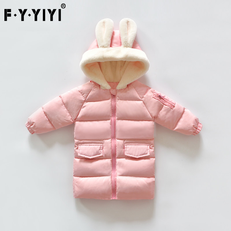 Baby girl Long down jacket Winter Kids Jackets High quality white duck down New Winter Collection Lovely rabbit ears russia winter warm girl x long down coat high quality white duck down kids the knee long jacket children clothes outerwear 6 14y
