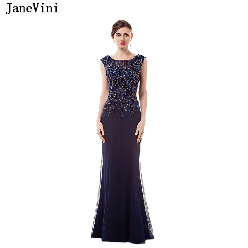 JaneVini Vintage Tulle Long   Bridesmaid     Dresses   Floor Length 2018 Scoop Neck Mermaid Prom   Dress   with Beading Women Party Gowns