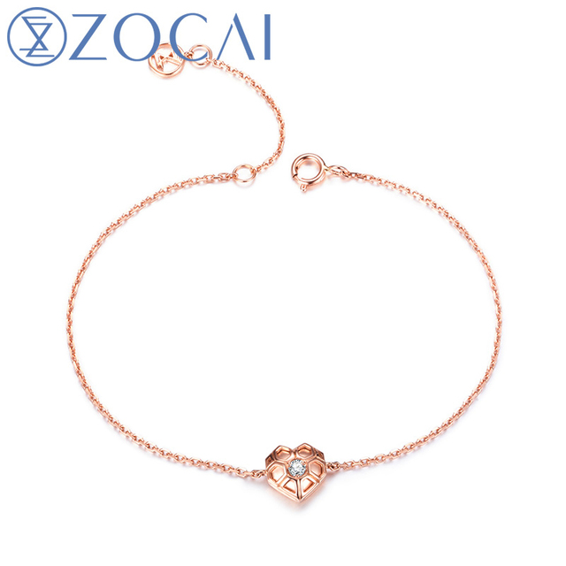 ZOCAI New Arrival The Honeycomb Series Real 0.04 CT Diamond Bracelet 18K Rose Gold JBS90209T