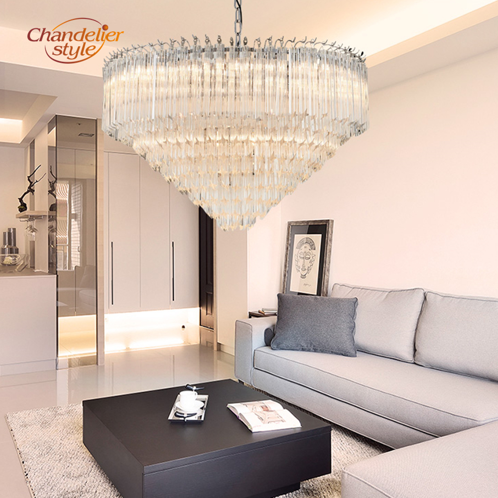 Modern Murano Glass Prism Chandelier Lighting Luxury Chandeliers Glass Hanging Light Fixtures for Living Dining Room Decoration