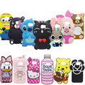 Luxury 3D cartoon bear cat rabbit hello kitty soft silicon case for samsung galaxy S6 S7 edge lovely couple back phone cover