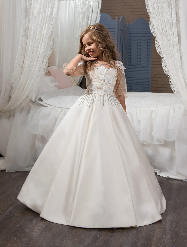3/4 Sleeves 2019   Flower     Girl     Dresses   For Weddings Ball Gown Satin Lace Beaded Baby Long First Communion   Dresses   For Little   Girls