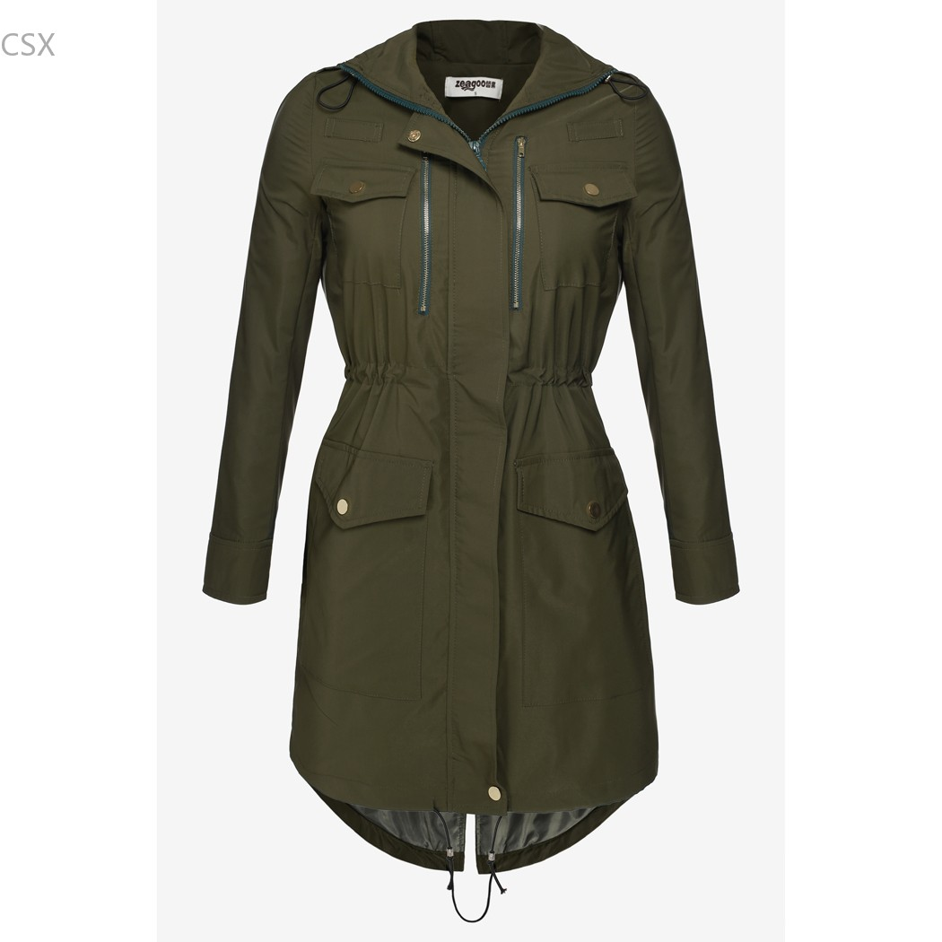 Plus brown Chaud Multi xxl Capuche army Cordon taille Survêtement À Le Apricot Automne Longues Green Femme Vêtements Femmes Coupe Veste Printemps S vent Manches qf1Yw0xa