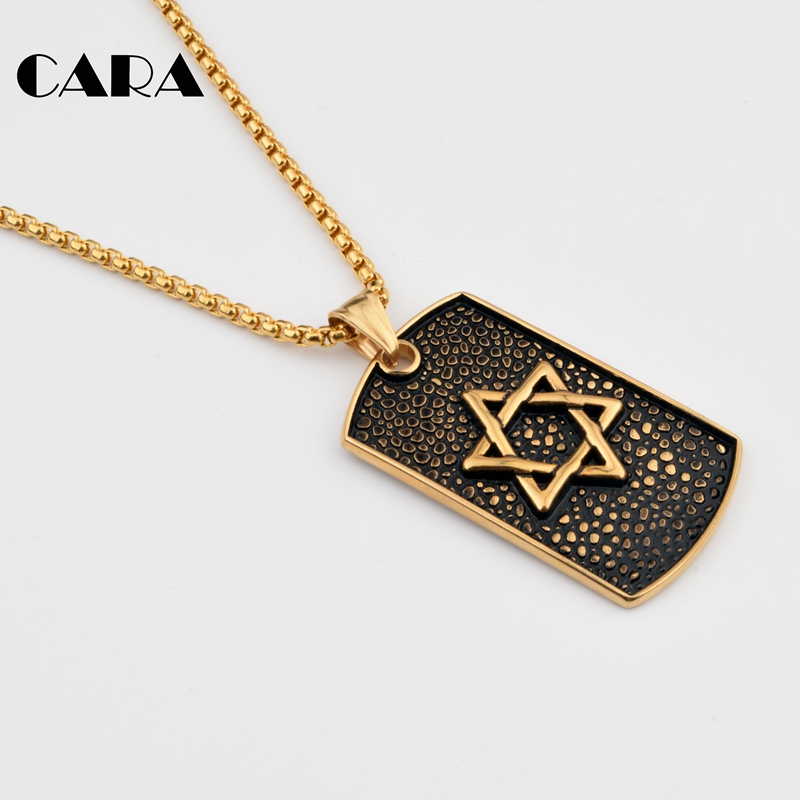 Magan David Star 27 39 39 popcorn chain hip hop Necklaces amp Pendants Antique 316Stainless Steel Dog Tag Necklace Israel Jewish jewelry in Pendant Necklaces from Jewelry amp Accessories