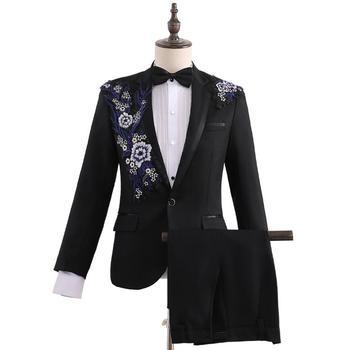 Blazer men singer stage latest coat pant designs marriage suit men Costume Embroidery Banquet wedding suits for men's