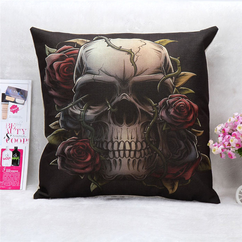 1PC Square Skull pillowcase cover Horrible color flower vine skull pattern waist cushion pillow slip drop shipping on sale