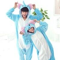 Animal Women Pajamas Flannel Winter Warm Hooded Pajamas Adult Cosplay Costume Pajamas Couple Sleepwear Unicorn Blue