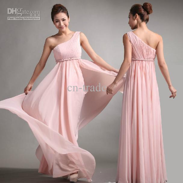 2018 Sweet princess Greek Style Goddess One-shoulder vestido de noiva Bare Pink Party gown   Bridesmaid     Dresses