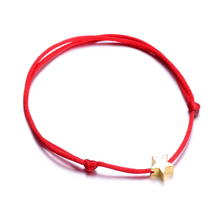 Rinhoo Lucky Silver Golden Star Red String Bracelet For Women Men Kids Adjustable Rope Braided Bracelet Mom Daughter Couple Gift