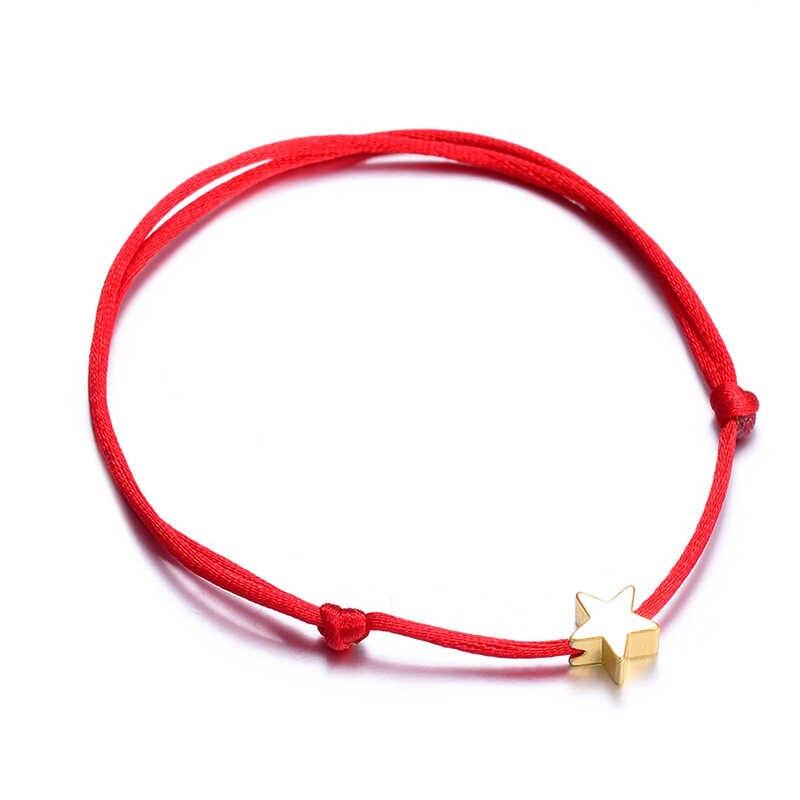Rinhoo chanceux argent doré étoile rouge chaîne Bracelet pour femmes hommes enfants réglable corde tressée Bracelet maman fille Couple cadeau