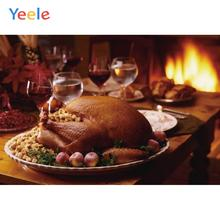 Yeele Thanksgiving Turkey fireplace Nice Cake Drink Photography Backdrops Personalized Photographic Backgrounds For Photo Studio