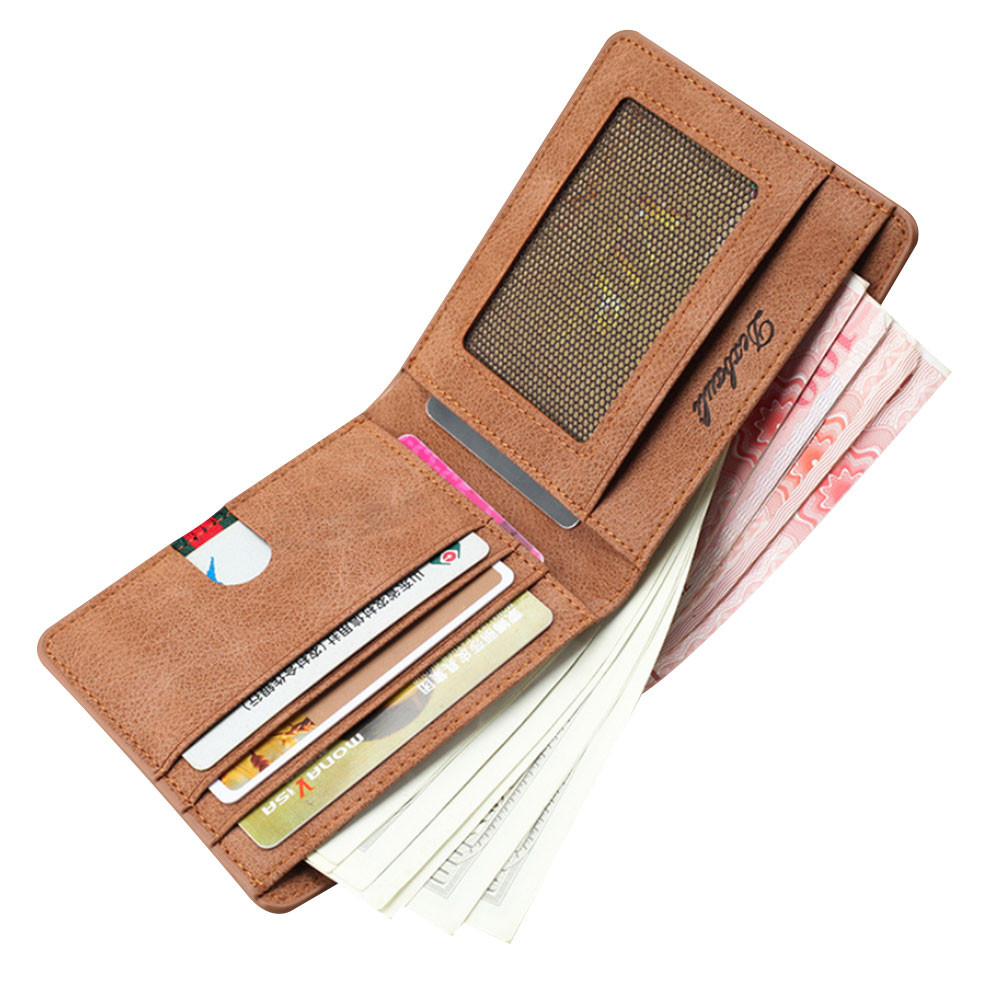 Retro Men Frosted Retro Short Wallet Versatile Wallet Ticket Holder Card Package NO Zipper Wallet For Creds