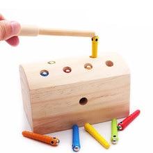 Детские деревянные магнитные игрушки для захватывания черви Красочные насекомых ловля насекомых изучение навыки образования раннего обучения игрушка E2865
