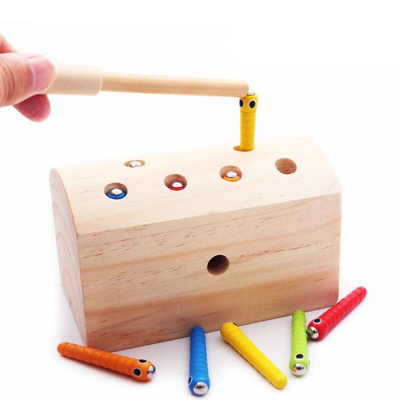 Bebé de madera juguete magnético captura gusanos insectos coloridos captura de insectos explorar habilidades educación temprana juguete aprendizaje E2865