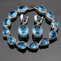 Made in China Silver Color Jewelry Sets For Women Blue Created Topaz Earrings Bracelet Christmas Free Gift Box