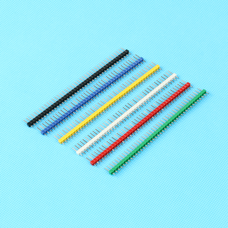 30 pcs/set 2.54mm Black + White + Red + Yellow + Blue + Green 1X40 Single Row Pin Male H ...
