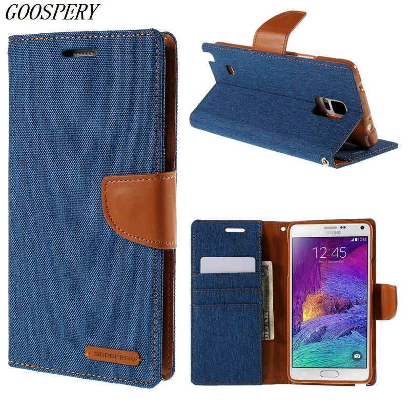 For Samsung Galaxy Note 4 Case Original MERCURY GOOSPERY Canvas Leather Magnetic Flip Cover Case For Samsung Galaxy Note 4 N910