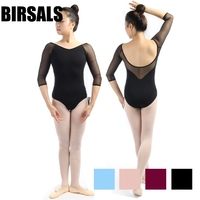Latest Black Girls Adult 3 4sleeve Mesh Sexy Gymnastics Dance Leotards Women Ballet Costumes With V