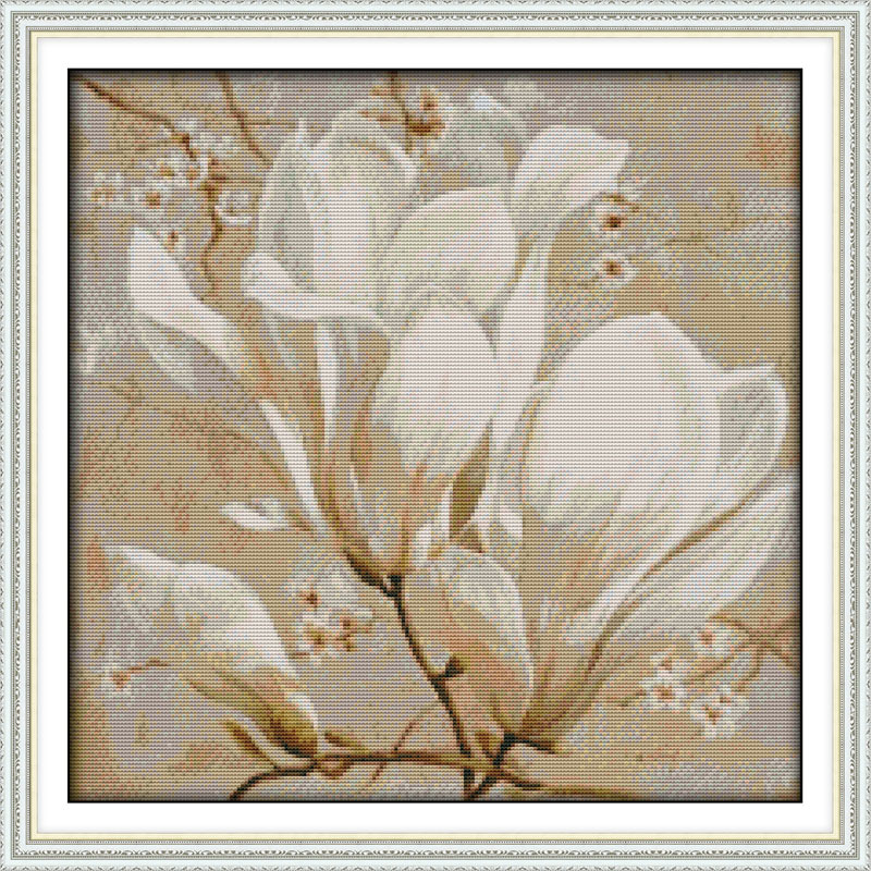 Beautiful Magnolia Flower Printed Canvas DMC Counted Kinesisk Cross Stitch Kit Trykt Korssting Set Broderi Needlework
