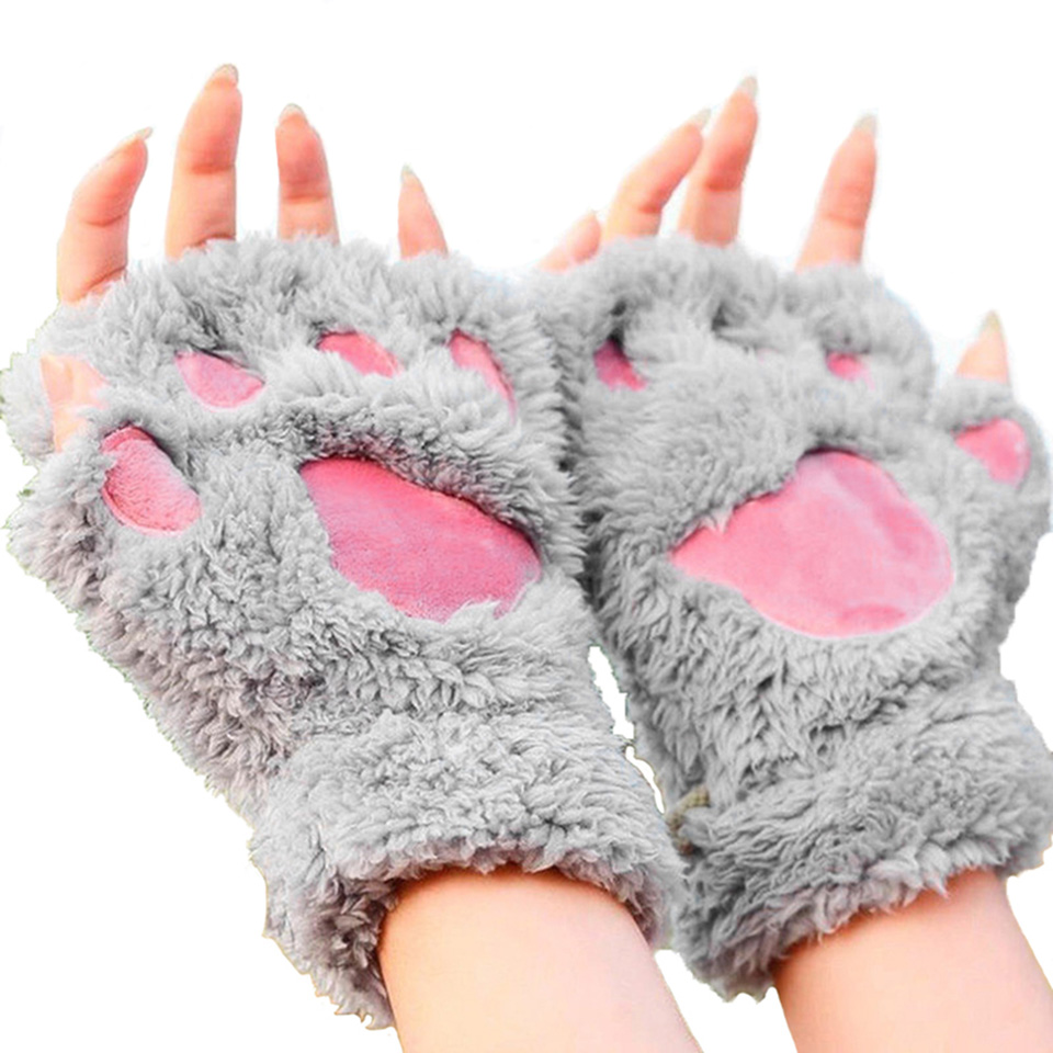 Mens novelty gloves - Ladies Fluffy Plush Bear Paw Warm Gloves Novelty Soft Women Gloves Cat Claw Womens Gloves Fingerless
