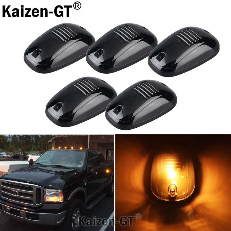 5pcs Amber LED Cab Roof Top Marker Running Lights For Truck SUV 4x4 (Black Smoked Lens Lamps)