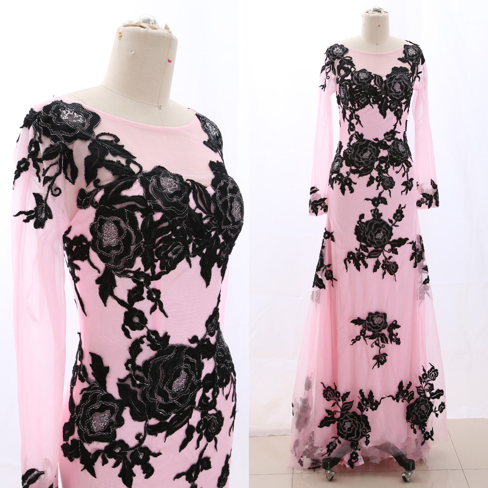 MACloth Pink Sheath Scoop Neck Floor-Length Long Embroidery Tulle Prom Dresses Dress XS 266078 Clearance
