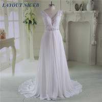 Sexy V neck Lace Appliques Beading Chiffon Beach Wedding Dress 2017 Vestidos De Novia Vintage Cheap Bridal Dress Bridal Gown