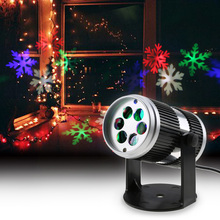 Christmas Laser Projector Lights Activated Moving Dynamic Snowflake Film Projector Light Pattern New Year Laser Decoration Lamp