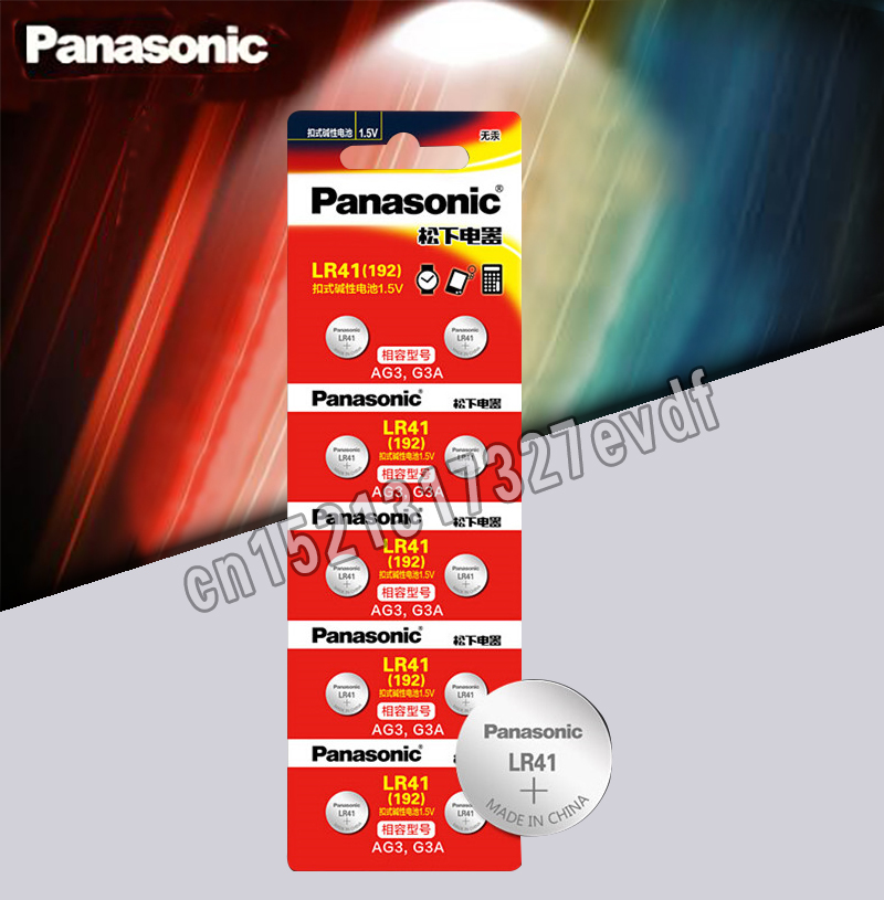 10pcs LR41 Button Cell Batteries Panasonic 100% Original SR41 AG3 G3A L736 192 392A Zn/MnO2 1.5V Lithium Coin Batteries