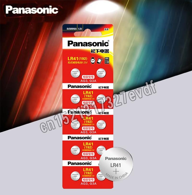 10pcs LR41 Button Cell Batteries Panasonic 100% Original SR41 AG3 G3A L736 192 392A Zn/MnO2 1.5V Lithium Coin Batteries