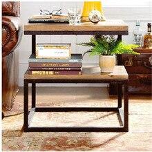 American living room with double wood coffee table tea table tea tables storage tables, wrought iron vintage versatile multi-flo