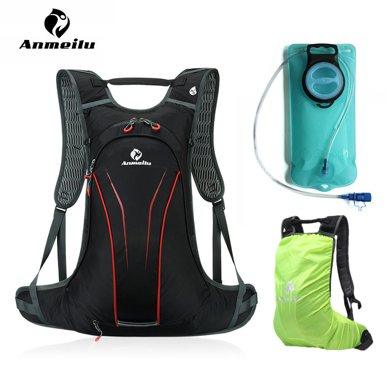 ANMEILU 2L Outdoor TPU Water Bag Cycling Camping Hydration Pack Bag Sport Bike Bicycle Backpack Bladder Mochila Rain Cover anmeilu 20l bicycle backpack with helmet net rain cover 2l bike water bag waterproof outdoor cycling hiking hydration backpack