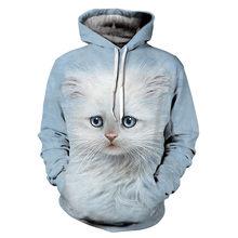 Women Hooded Hoodies Cute White Cat 3D Print Sweatshirt Long Sleeve  Pullovers Mujer Sweatshirts Hoodie Capuche Cosplay Clothing eac54e375ea6