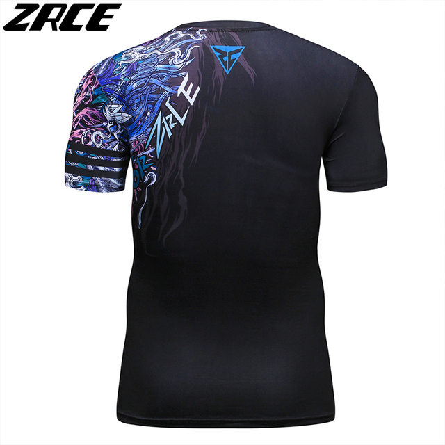 ZRCE 3D Print Wolf Men Shirt With Arm Sleeve O-neck Summer Funny Cosplay Costume Stranger Cool Things Streewear Skinny Tee Shirt 5