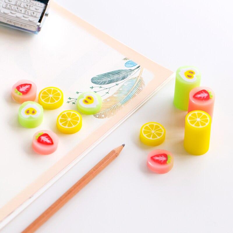4 Pcs Color Fruit Eraser For Pencil Erasing Strawberry Orange Apple Stationery Item Office School Supplies Borracha Escolar F385