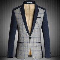 NEW men blazer designs Big plaid suit jacket Smart Casual Mens blazers fashion Stitching slim fit Male Brand Suit Blazer