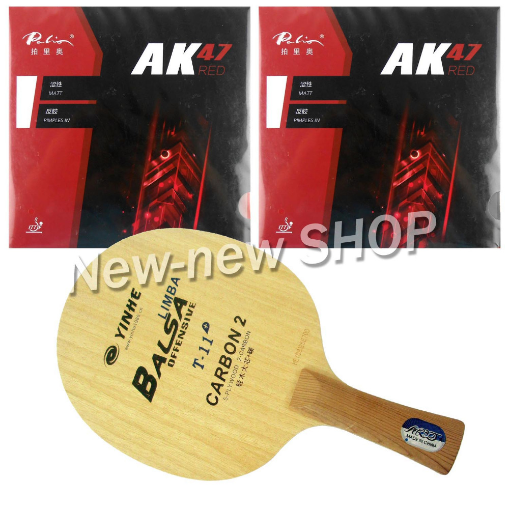 Galaxy YINHE T-11+ Blade with 2x Palio AK47 RED H45-47 Rubbers for a Racket Shakehand Long Handle FL galaxy yinhe emery paper racket ep 150 sandpaper table tennis paddle long shakehand st