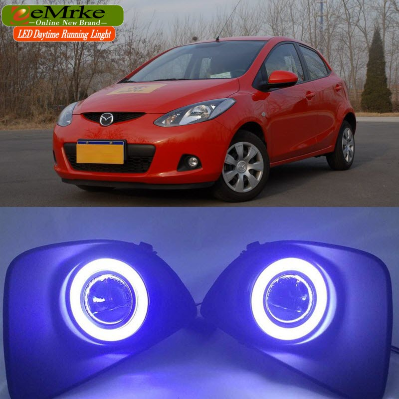 eeMrke For Mazda2 Demio 2007-2014 (DE) LED Angel Eye DRL Daytime Running Lights Fog H11 55W Halogen eemrke led angel eye drl for mazda 6 2003 2008 daytime running lights h11 55w halogen fog light lamp kits