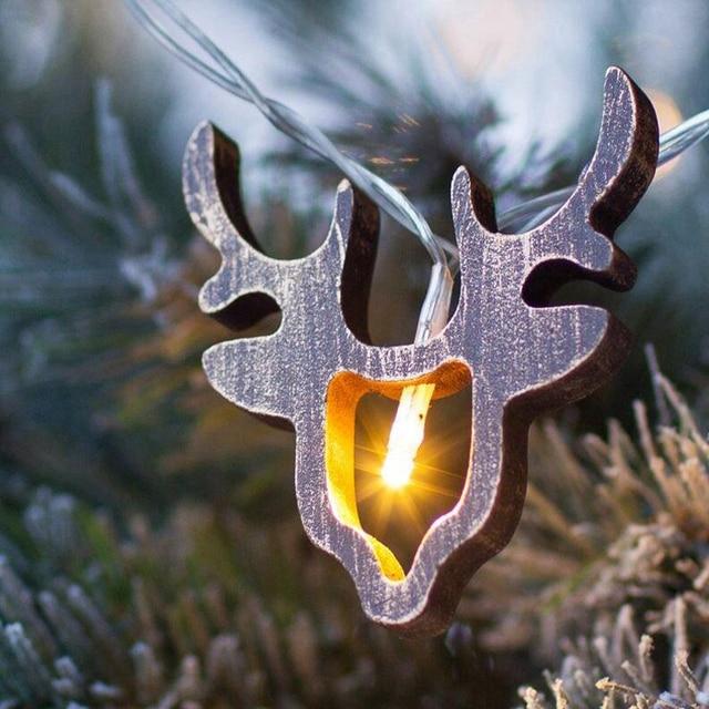 Houten Santa Animal Rendier Hoofd kerstverlichting 10 LEDs Batterij ...