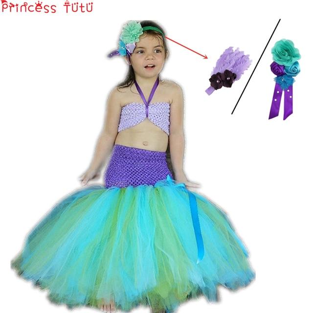d7fffb2545a4 PRINCIPESSA TUTU La Sirenetta Ariel Costumi Per Le Ragazze Vestiti  abbigliamento Per Bambini di Halloween Cosplay