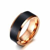 2018 Hot Sale EAMOR New Fashion 8 Mm Black Rose Gold Romantic Ring For Men Christmas