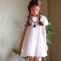 Küçük gençler prenses kız elbise çocuk kısa kollu beyaz çocuk yaz bahar elbise 2018 yeni Kore stil giyim