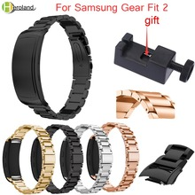 Replacement Stainless Metal Wrist Strap For Samsung Gear Fit 2 Luxury Watchband Bracelet wrist SM-R360+tool