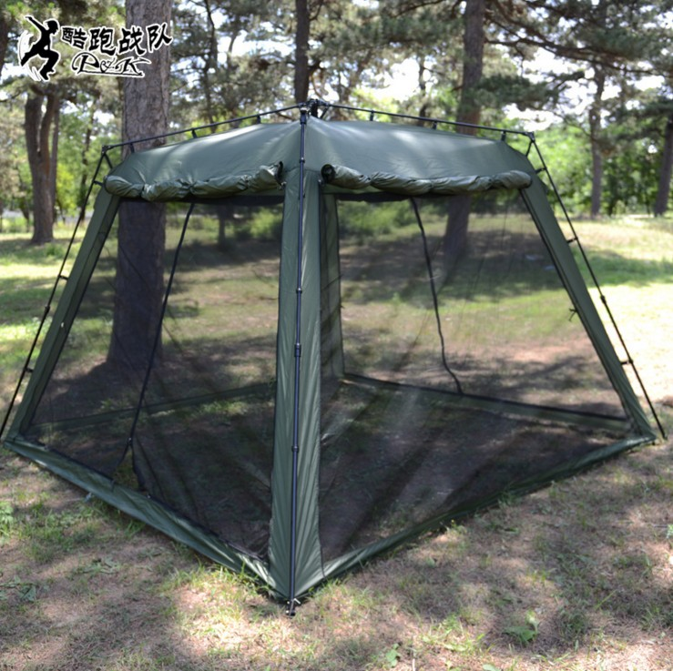 Large military tents outdoor c&ing tent ArmyGreen Pavilion Fast Open Quartet tent With mosquito nets 5 8 people-in Sun Shelter from Sports u0026 Entertainment ... & Large military tents outdoor camping tent ArmyGreen Pavilion Fast ...