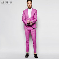 Hot Pink Men Blazer Tailcoat Groomsmen Tuxedoa Formal Prom Men's Wedding Suit Best Men Suits Blazer Wedding Groom Tuxedos Custom