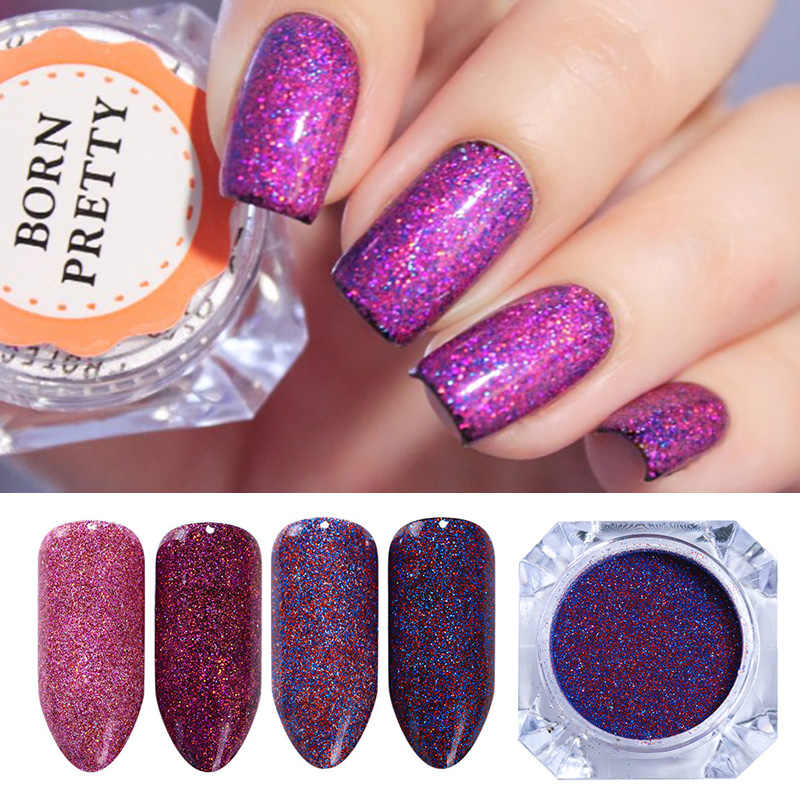 4 Pcs Starry Holographic Laser Powder Set Holo Purple Pink Colorful Glitter Dust Manicure Nail Art Glitter Powder Decoration