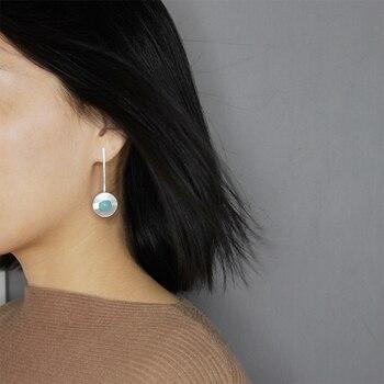 c019c7bf98d7 Lotus Real 925 plata esterlina piedras naturales hechas a mano joyas de  minimalismo moderno diseño elegante ronda pendientes