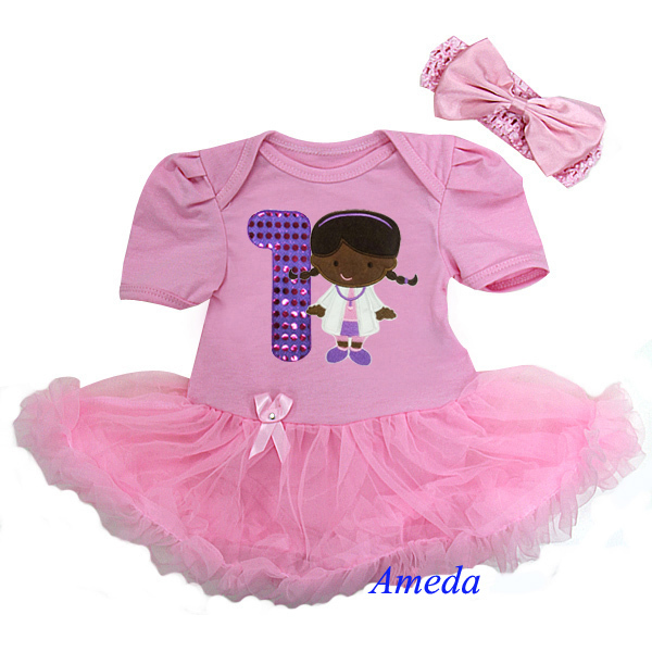 Baby Doc McStuffins Light Pink Bodysuit Tutu 1st Birthday Party Dress 0 18M